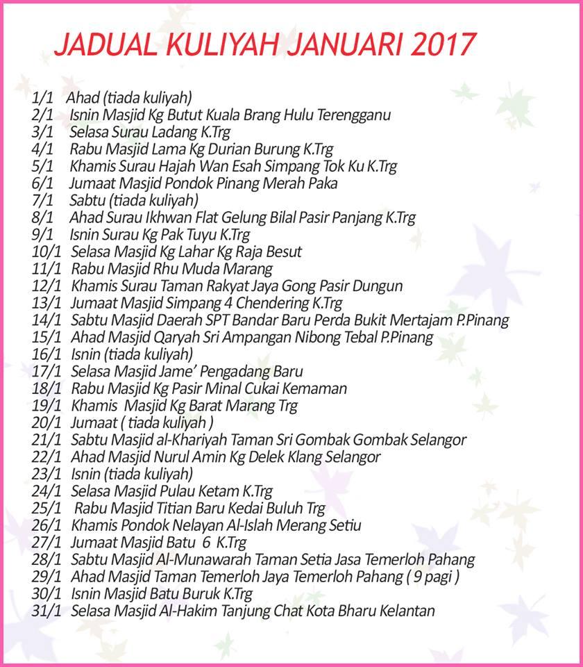 Jadual Kuliah Ustaz Azhar Idrus bulan Januari 2017