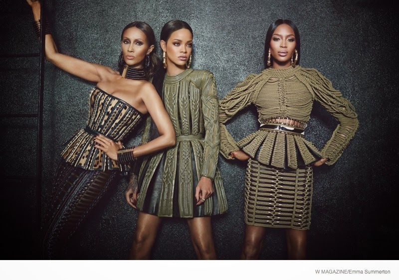 Rihanna, Naomi Campbell, and Iman wear Balmain for W Magazine's September 2014 edition