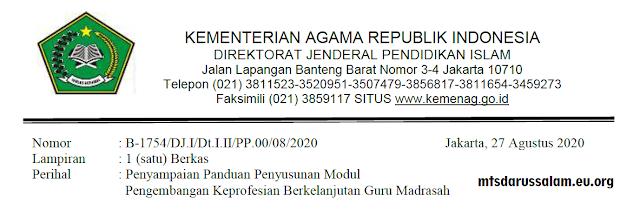 Surat Keputusan Dirjen Pendis Nomor 4447 Tahun 2020 Tentang Panduan Penyusunan Modul PKB (Pengembangan Keprofesian Berkelanjutan) Guru Madrasah