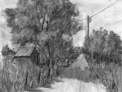 charcoal sketch rural road barn