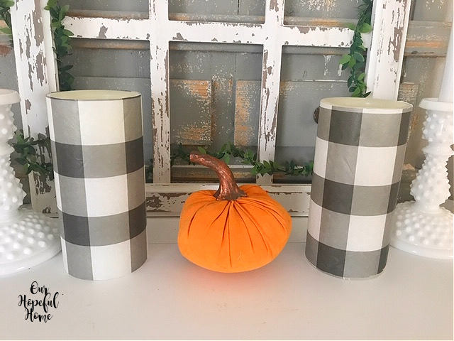 two buffalo check LEd candles orange fabric pumpkin