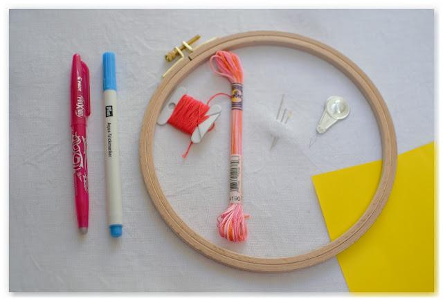 matériel de broderie : tambour, fil, toile de lin, aiguilles, enfile fil, papier carbone, stylos effaçables à l'eau et à la chaleur
