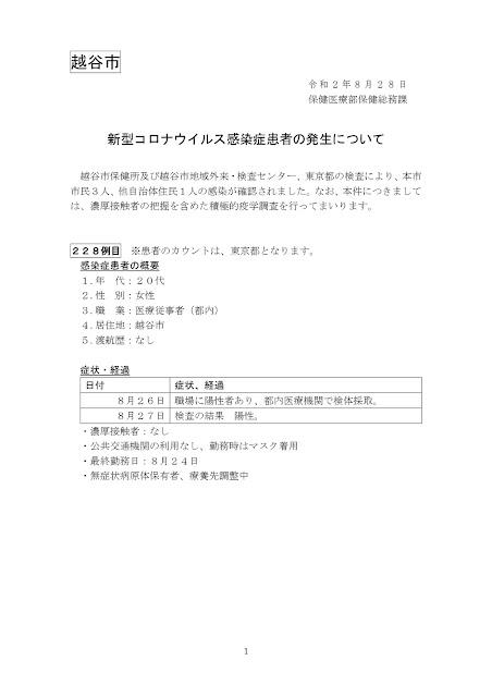 新型コロナウイルス感染症患者の発生について(8月28日発表)