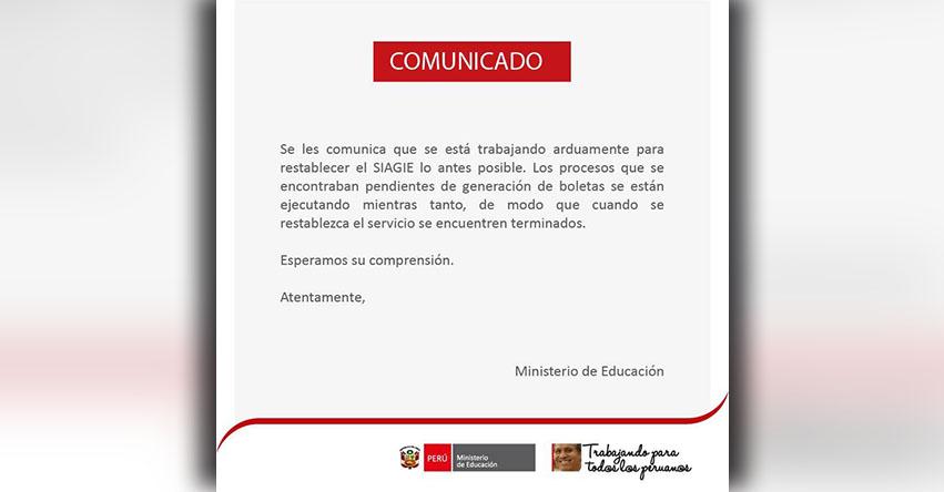 SIAGIE COMUNICADO: Procesos Pendientes de Generación de Boletas - MINEDU - www.siagie.minedu.gob.pe