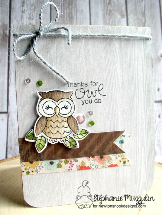Owl thank you card by Stephanie Muzzulin  | What a Hoot Stamp Set & Die Set by Newton's Nook Designs #newtonsnook