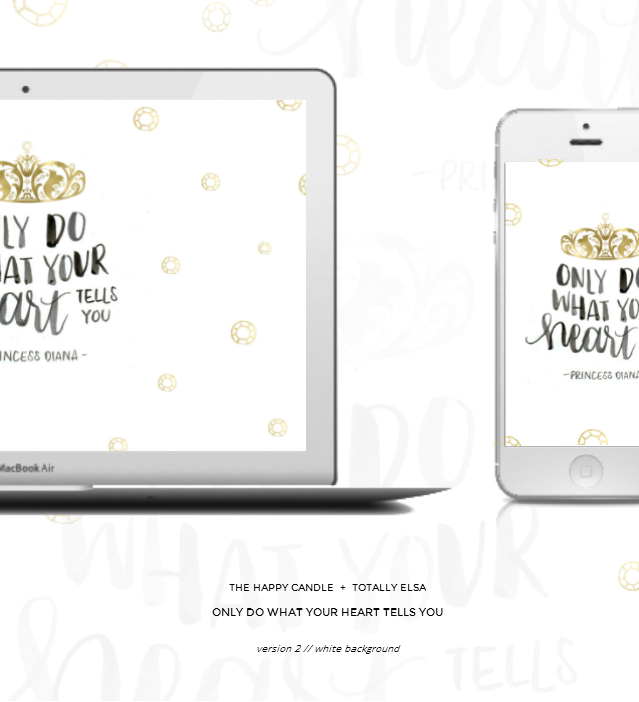 free downloadable desktop, phone wallpaper, quote by Princess Diana, Lady Diana Spencer, follow your heart, white, gold