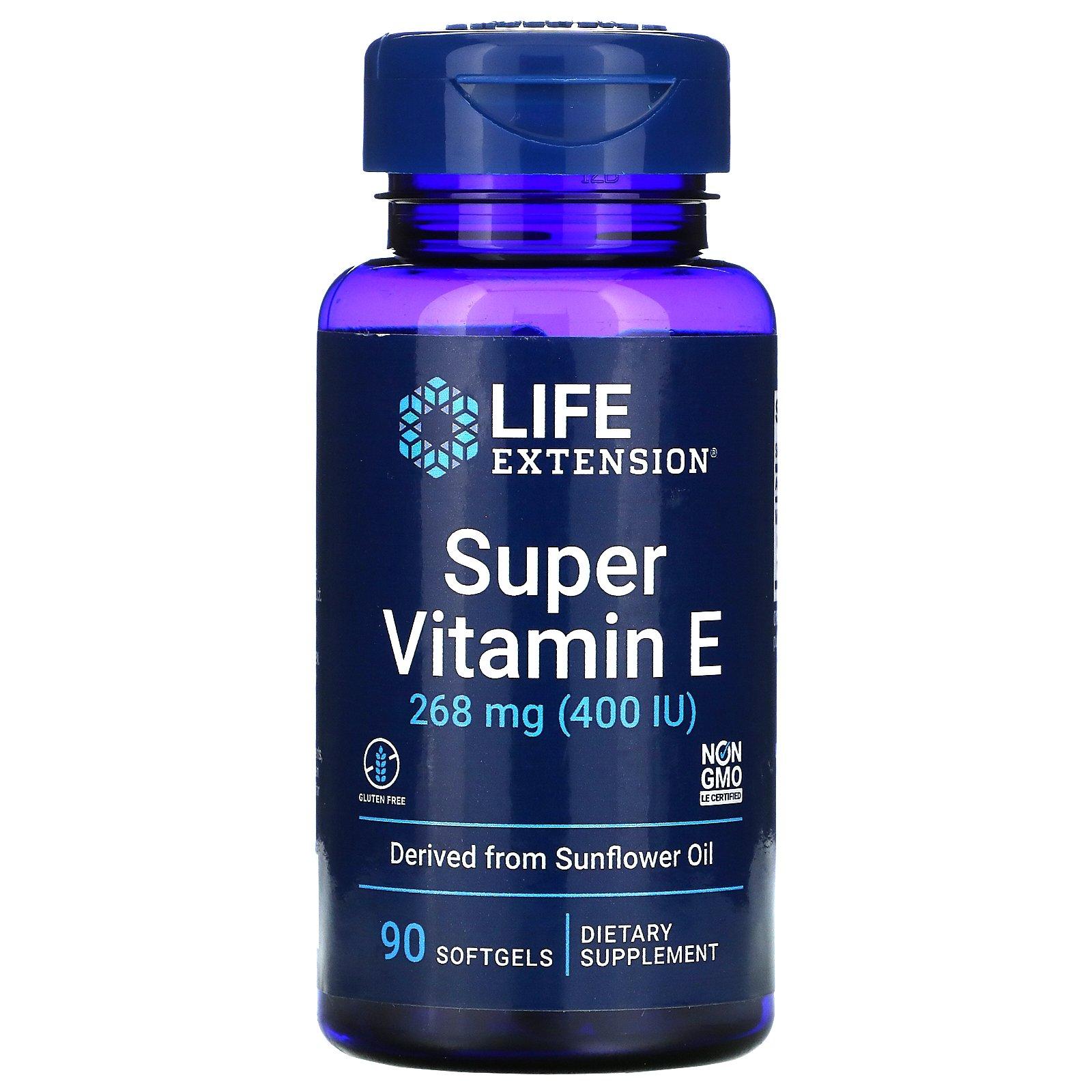 Life Extension, супервитамин E, 268 мг (400 МЕ), 90 капсул
