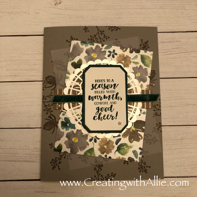 Check out the blog post where I show you how to make a quick and easy card, this card features Stampin Up's First Frost Bundle!  You'll love how quick and easy this is to make!  www.creatingwithallie.com #stampinup #alejandragomez #creatingwithallie #videotutorial #cardmaking #papercrafts #handmadegreetingcards #fun #creativity #makeacard #sendacard #stampingisfun #sharewhatyoulove #handmadecards #friendshipcards