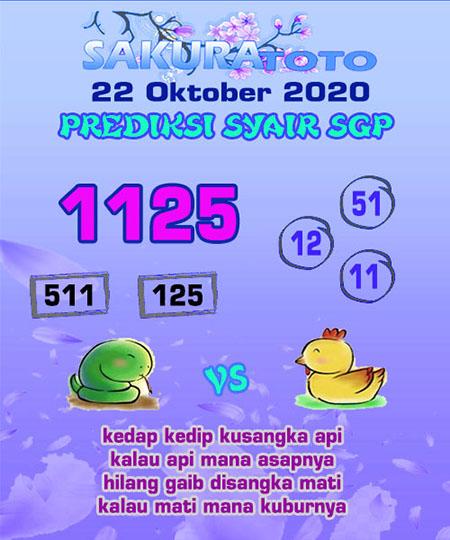 Prediksi Sakuratoto SGP Kamis 22 Oktober 2020