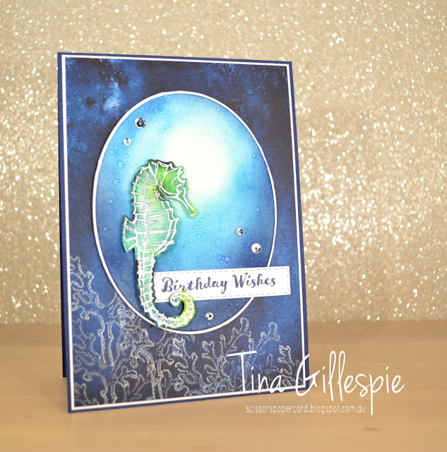 scissorspapercard, Stampin' Up!, Paper Adventures, Blog Hop, Seaside Notions, Itty Bitty Birthdays, See A Silhouette DSP, Silvery Shimmer Delicata Ink, Bleached Watercolouring