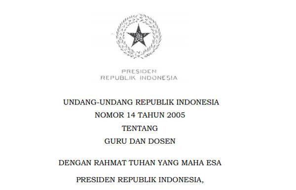 Undang - Undang RI Nomor 14 Tahun 2005 Tentang Guru dan Dosen