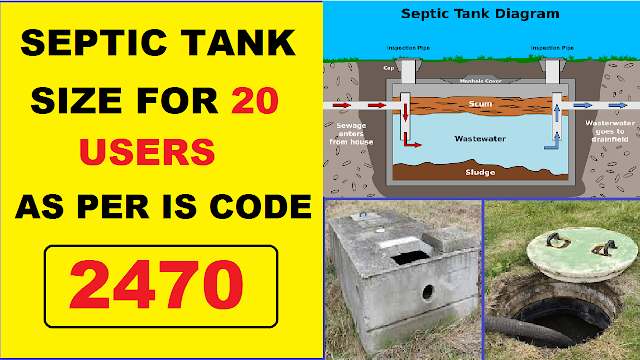 Recommended size of Septic Tanks for 20 Users as per IS 2470 (PART-1)