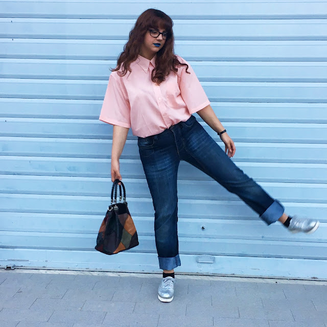 outfit giorno pink quartz blue serenity fashion blog zairadurso zaira d'urso fashion's obsessions mockberg vintage bah asos loafers mum jeans tumblr girl instagram