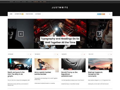 JustWrite Free Magazine Wordpress Theme