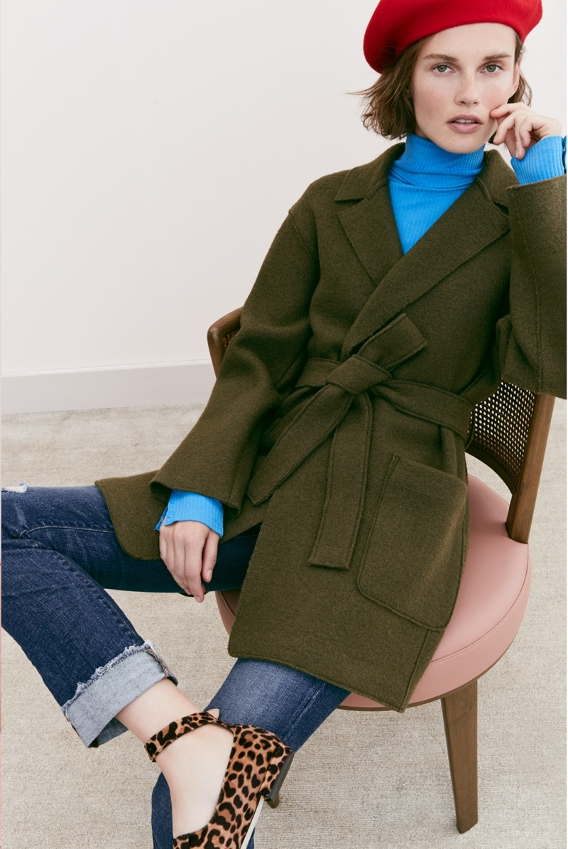 J. Crew Italian Wool Beret, Wrap Coat in Boiled Wool, Ribbed Turtleneck Bodysuit, Slim Boyfriend Jean in Silverwood Wash and Double-Strap Flats in Leopard Calf Hair