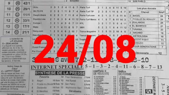 programme quinté+ Pronostic Mardi 24/08/2021