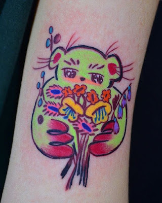 colourful teddy bear tattoo