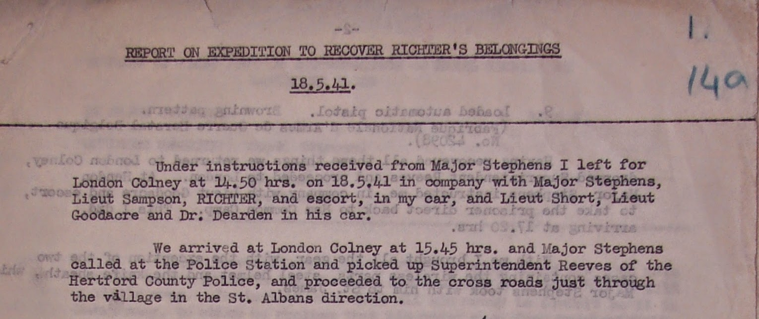 Extract from a report by D.B. Stimson summarizing the expedition to  recover Richter's belongings. Stimson notes the names of all the officers  involved in the expedition: Stephens, Sampson, Richter, an escort (guard),  Short, Goodacre, Dearden and Superintendent Reeves.  (National Archives - KV 2/30, folio 14a)