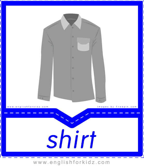 Shirt - English clothes and accessories flashcards for ESL students