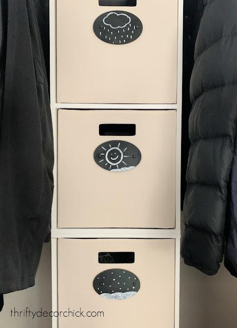DIY chalkboard labels for coat closet