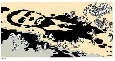 Charge de Laerte, onde a lama do petróleo forma o rosto de Bolsonaro