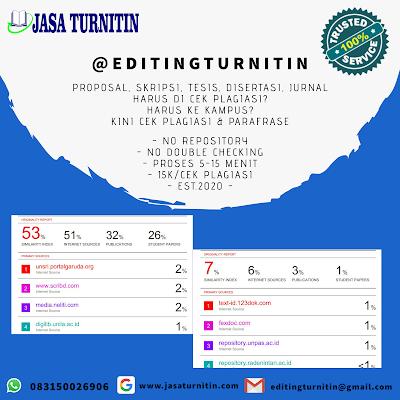 Jasa Lolos Turnitin Jurnal Skripsi Tesis Disertasi Bahasa Inggris Tercepat di Indonesia