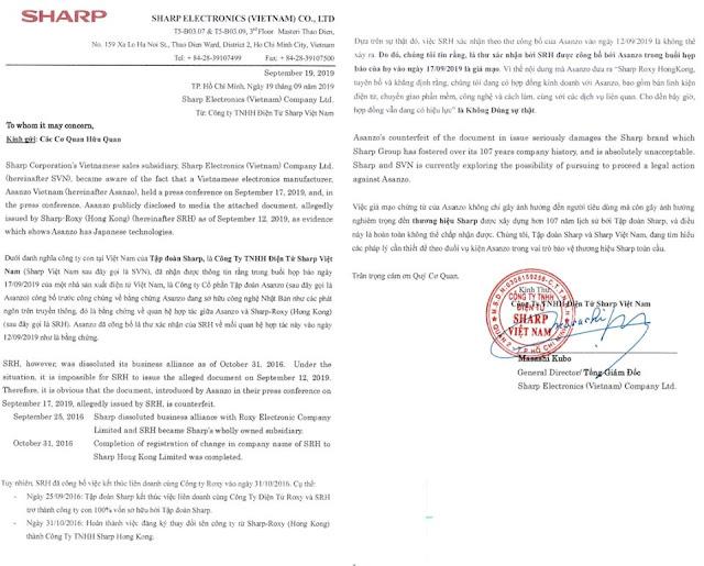 Bị tố lừa đảo hợp tác với Sharp - công nghệ Nhật Bản, lập tức Asanzo phản hồi
