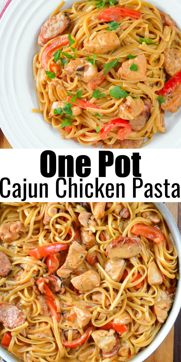 Easy One Pot Cajun Chicken Pasta with Sausage the top photo in a bowl and the bottom photo in a stainless steel pot.