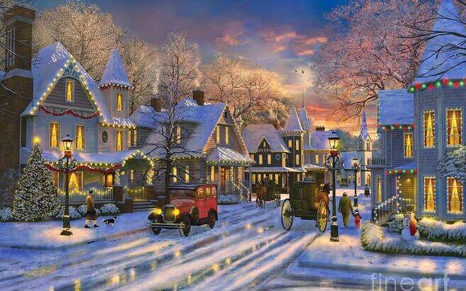 Navidad colorida en pueblo