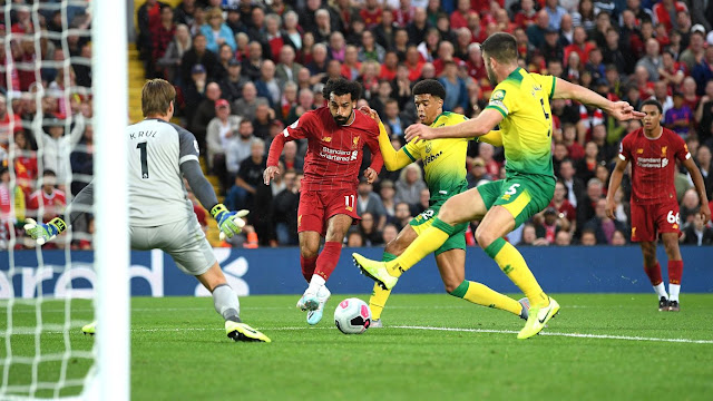 Mohamed Salah in action for Liverpool against Norwich in the Premier League