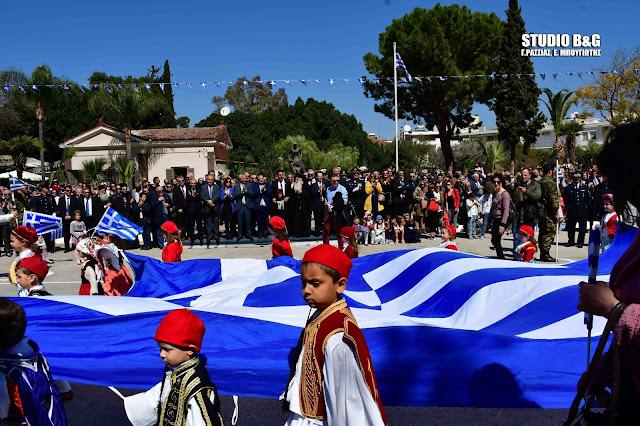 Η παρέλαση της Εθνικής Επετείου της 25ης Μαρτίου στο Ναύπλιο (βίντεο)