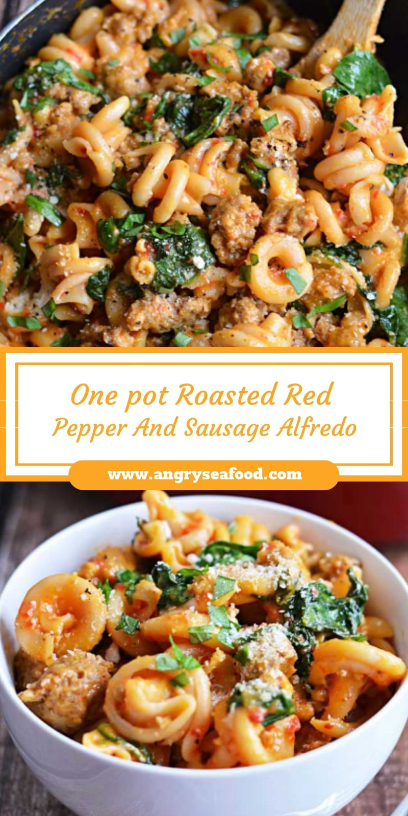 One pot Roasted Red Pepper And Sausage Alfredo