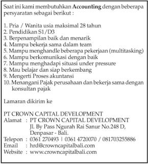 Info Lowongan Kerja di PT. Crown Capital Development Denpasar Bali Mei 2018