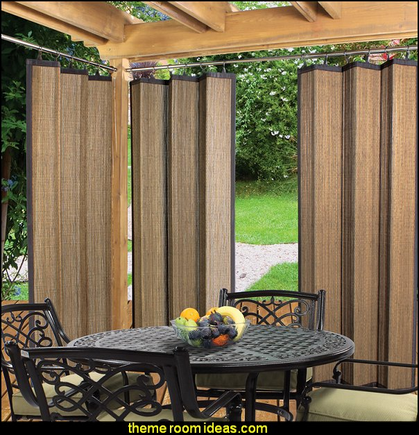 Nassau Indoor/Outdoor Bamboo Ring Top Single Curtain Panel