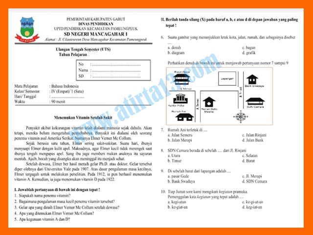 Contoh Soal UTS Bahasa Indonesia KTSP Kelas 4 SD Semester 1