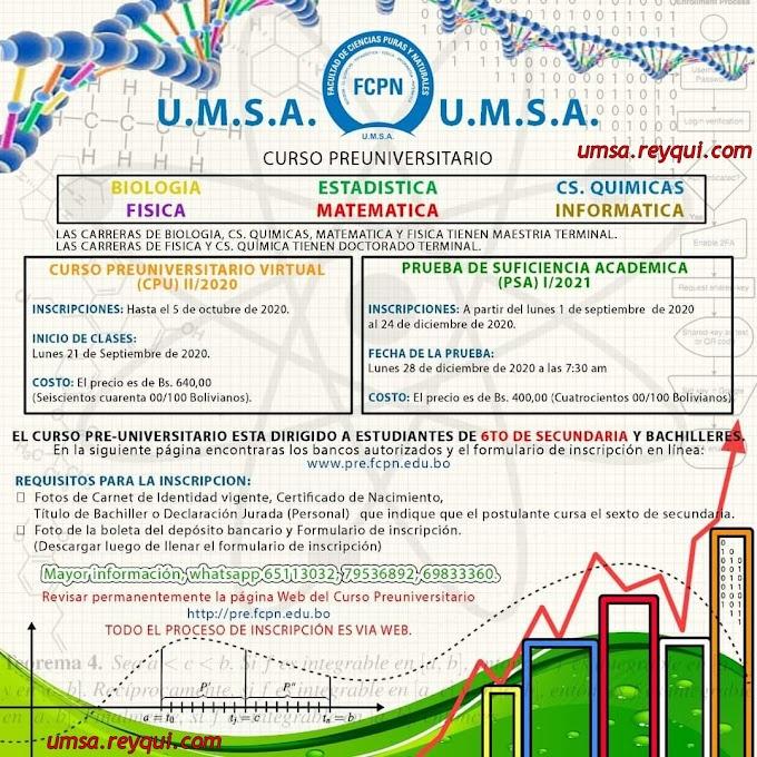Facultad de Ciencias Puras y Naturales UMSA 2021: Convocatoria a la Prueba de Suficiencia Académica (PSA) I/2021 y Curso Preuniversitario Virtual (CPU) II/2020