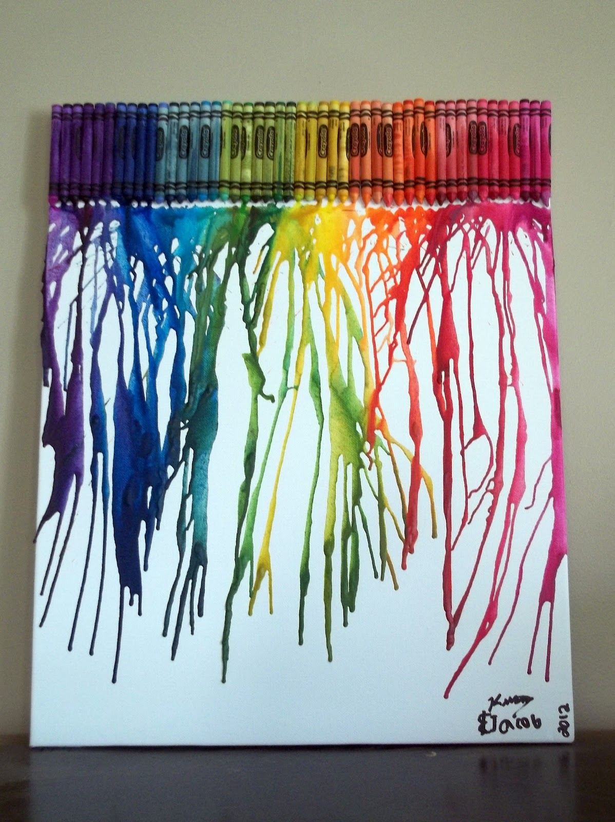 Sliding Down The Stairs Melted Crayon Art