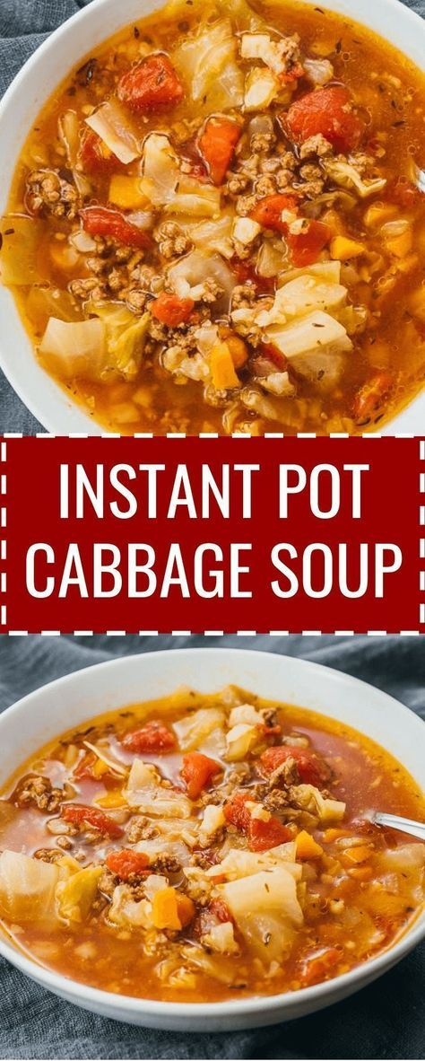 A cozy recipe for Instant Pot cabbage soup with ground beef and tomatoes. Like an unstuffed cabbage roll soup, and the pressure cooker makes it a breeze to cook.