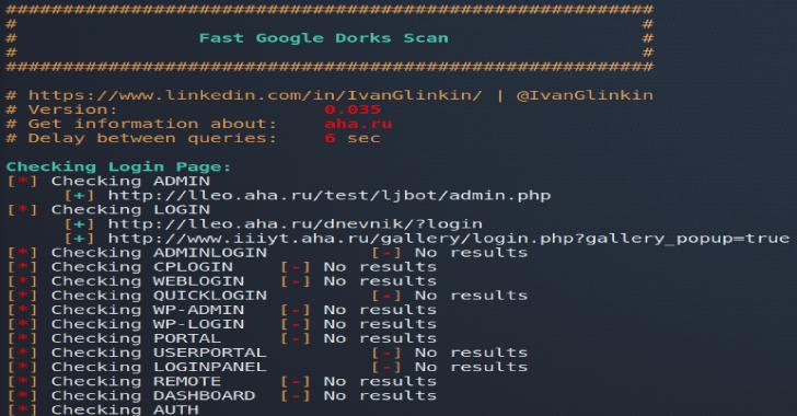 Fast Google Dorks Scan