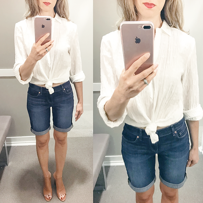 denim shorts, loft try on session, white shirt, summer outfit