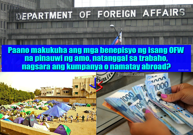 There is a hThere is a huge shift in the economic situation in the Middle East. In Saudi Arabia alone, huge companies like Saudi Oger, Saudi Bin Laden Group, Al Saad Group, Al-Khodari, and other similar companies have sent home foreign workers numbering in thousands due to a slow economy. Trapped in this situation are thousands of OFWs who were left with almost nothing to bring home to their families. But actually, the DFA, via the Office of the Undersecretary for Migrant Welfare Affairs, has the mandate to go back after these employers who failed to pay back wages as well as end of service benefits to these former OFWs. In fact, A recent report from the Commission on Audit cited the OUMWA for failing to release over P112 in benefits to various OFWs, with some benefits reaching up to 10 years back. These benefits range from ESB, back wages, remunerations and injury or death benefits.  If you have some back wages or other monetary benefits that is pending, you can actually go to the DFA to request for assistance in collecting them. The Office of the Undersecretary for Migrant Workers Affairs is in charge of providing assistance to nationals (ATN) and legal assistance in coordination with relevant government agencies. They are mandated to provide assistance to distressed OFWs as well as repatriated OFWs. So if you have a claim to unpaid salaries or other benefits, or need legal assistance, here's what you need to do:  1. Inform OUMWA of any request for assistance through letters, telephone calls or visits to OUMWA's office by your relatives. Requests for assistance can also be endorsed by government officials, from Congressmen and Senators, to local government officials. Non-governmental organizations (NGOs), as well as the media may also endorse such request.  2. Requests should include the following details, as applicable: Name of the OFW Address and contact number of the OFW Address and contact number of the employer Address and contact number of the foreign and/or local agency The specific reason for the request 3. If the request is about monetary compensation, unpaid wages or end of service benefits, the computation for the amount will be based on the host country's labor laws. An OFW who will be leaving behind his claim may need to execute a Special Power of Attorney to allow appointed Saudi lawyers to continue pursuing claims for unpaid wages and benefits on behalf of the OFWs after the OFWs are repatriated back to the Philippines. The same may be done by a former OFW who is already in the Philippines.  4. If the request is about end of service and unpaid wages for a deceased OFW, the OUMWA will coordinate with the host country via the Philippine Embassy there. Following the procedures and labor laws of the host country, the Embassy will process both the repatriation of the deceased, as well as facilitate the claims for the benefits.  5. Once all process is complete, the Philippine Embassy will receive the payment of the benefits and make necessary arrangements to forward the money to the account of the Department of Foreign Affairs-Office of the Undersecretary for Migrant Workers' Affairs (DFA-OUMWA) where the OFW of his/her legal beneficiaries can collect benefits. The OUMWA will require documentary proof for establishing the identification and relations of the beneficiaries.  The following reasons may cause delay in processing or releasing claims: 1. OFWs using substitute names in their passport 2. illegal and undocumented workers 3. multiple marriages 4. illegitimate children 5. family disputes 6. incomplete documentary requirements 7. no identified beneficiary 8. discrepancies and inconsistencies between records 9. failure to reach an amicable settlement among the adverse claimants 10. unknown/untraceable whereabouts of the beneficiaries 11. failure of the recipients outside Metro Manila to readily open a bank account due to fund various reasons   The OUMWA  ay be reached through the following ways:  OFFICE OF THE UNDERSECRETARY FOR MIGRANT WORKERS AFFAIRS  Atty. Sarah Arriola  Hotline: (+632) 834-4996 Assistance for death benefits: (+632) 834-3229 Fax number: (+632) 551-0847 e-mail address: oumwa@dfa.gov.ph, oumwa.database@gmail.com   The OUMWA Office is found in DFA Main Office in Pasay, 3rd Flooruge shift in the economic situation in the Middle East. In Saudi Arabia alone, huge companies like Saudi Oger, Saudi Bin Laden Group, Al Saad Group, Al-Khodari, and other similar companies have sent home foreign workers numbering in thousands due to a slow economy. Trapped in this situation are thousands of OFWs who were left with almost nothing to bring home to their families. But actually, the DFA, via the Office of the Undersecretary for Migrant Welfare Affairs, has the mandate to go back after these employers who failed to pay back wages as well as end of service benefits to these former OFWs. In fact, A recent report from the Commission on Audit cited the OUMWA for failing to release over P112 in benefits to various OFWs, with some benefits reaching up to 10 years back. These benefits range from ESB, back wages, remunerations and injury or death benefits.  If you have some back wages or other monetary benefits that is pending, you can actually go to the DFA to request for assistance in collecting them. The Office of the Undersecretary for Migrant Workers Affairs is in charge of providing assistance to nationals (ATN) and legal assistance in coordination with relevant government agencies. They are mandated to provide assistance to distressed OFWs as well as repatriated OFWs. So if you have a claim to unpaid salaries or other benefits, or need legal assistance, here's what you need to do:  1. Inform OUMWA of any request for assistance through letters, telephone calls or visits to OUMWA's office by your relatives. Requests for assistance can also be endorsed by government officials, from Congressmen and Senators, to local government officials. Non-governmental organizations (NGOs), as well as the media may also endorse such request.  2. Requests should include the following details, as applicable: Name of the OFW Address and contact number of the OFW Address and contact number of the employer Address and contact number of the foreign and/or local agency The specific reason for the request 3. If the request is about monetary compensation, unpaid wages or end of service benefits, the computation for the amount will be based on the host country's labor laws. An OFW who will be leaving behind his claim may need to execute a Special Power of Attorney to allow appointed Saudi lawyers to continue pursuing claims for unpaid wages and benefits on behalf of the OFWs after the OFWs are repatriated back to the Philippines. The same may be done by a former OFW who is already in the Philippines.  4. If the request is about end of service and unpaid wages for a deceased OFW, the OUMWA will coordinate with the host country via the Philippine Embassy there. Following the procedures and labor laws of the host country, the Philippine Embassy will receive the payment and make necessary arrangements to forward the money to the account of the Department of Foreign Affairs-Office of the Undersecretary for Migrant Workers' Affairs (DFA-OUMWA) where the deceased OFW's legal heirs collect their respective benefits. The OUMWA will require documentary proof for establishing the identification and relations of the heirs.   The following reasons may cause delay in processing or releasing claims: 1. OFWs using substitute names in their passport 2. illegal and undocumented workers 3. multiple marriages 4. illegitimate children 5. family disputes 6. incomplete documentary requirements 7. no identified beneficiary 8. discrepancies and inconsistencies between records 9. failure to reach an amicable settlement among the adverse claimants 10. unknown/untraceable whereabouts of the beneficiaries 11. failure of the recipients outside Metro Manila to readily open a bank account due to fund various reasons   The OUMWA  ay be reached through the following ways:  OFFICE OF THE UNDERSECRETARY FOR MIGRANT WORKERS AFFAIRS  Atty. Sarah Arriola  Hotline: (+632) 834-4996 Assistance for death benefits: (+632) 834-3229 Fax number: (+632) 551-0847 e-mail address: oumwa@dfa.gov.ph, oumwa.database@gmail.com   The OUMWA Office is found in DFA Main Office in Pasay, 3rd Floor