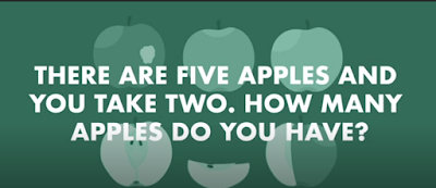 Figure: There are five apples and you take two. how many apples do you have?