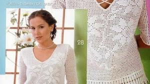 Patrones de delicada blusa en crochet filet