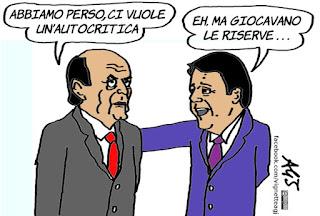bersani, renzi, pd, minoranza PD, euro 2016, italia-irlanda, calcio, sport, vignetta, satira