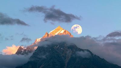 Moon Over Mountain Beautiful Nature Wallpaper