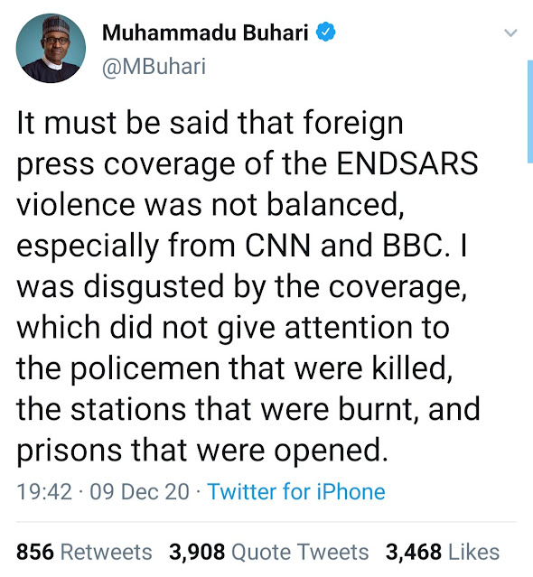 """""""CNN and BBC trends as Nigerians react to Buhari's statement that the foreign press coverage of the End SARS protest was not balanced"""""""