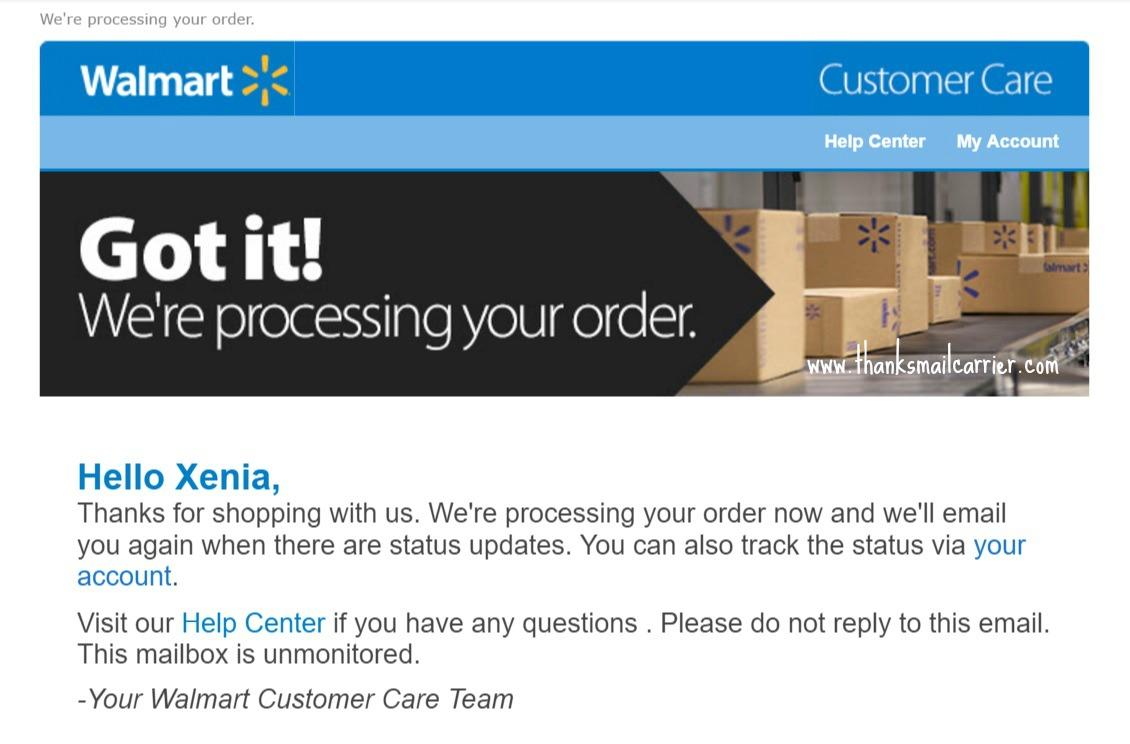 Walmart order confirmation