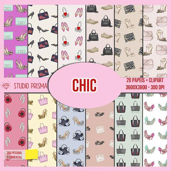 Chic: Kit Digital de Scrapbooking com papéis e clipart