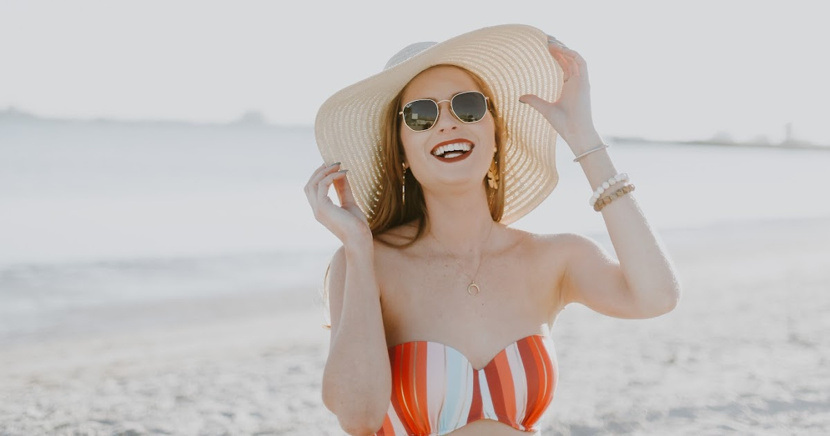 e310fad2383 Affordable by Amanda  How to Style a Floppy Hat + Striped Swimsuit from  Target at St. Pete Beach