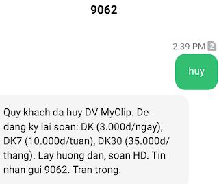 Huỷ dịch vụ MyClip của Viettel